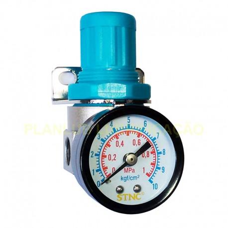 Regulador de Pressão de Ar c/ Manômetro 1/4 Pol Baixa Pressão