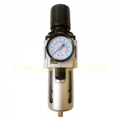 Filtro Regulador de Ar 1/2 Pol - 5 Micra - Protetor Metálico