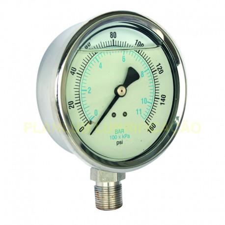 Manômetro Vertical - D 60mm / 1MPa - C/ Glicerina