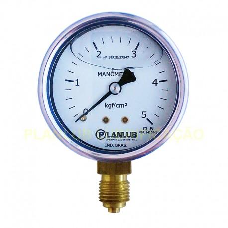 Manômetro Industrial Vertical c/ Glicerina - D 63mm - 70 psi