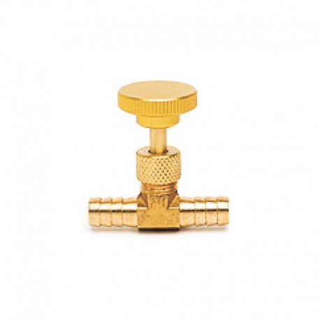 Válvula Agulha Conexão Espigão 1-4 pol X 1-4 pol em Latão